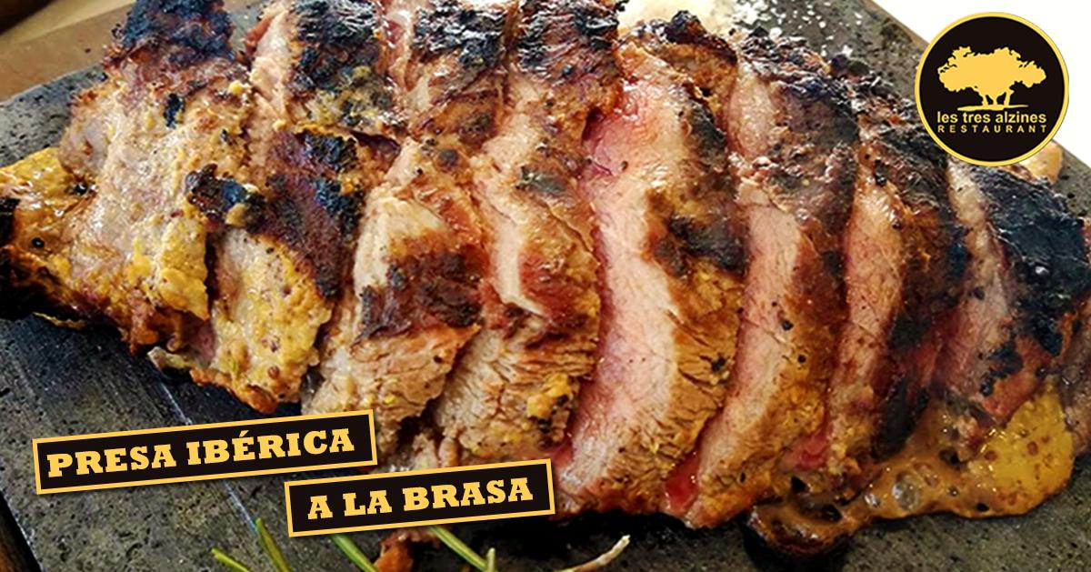 Restaurante braseria en La Roca Village - Les Tres Alzines - Presa ibérica a la brasa