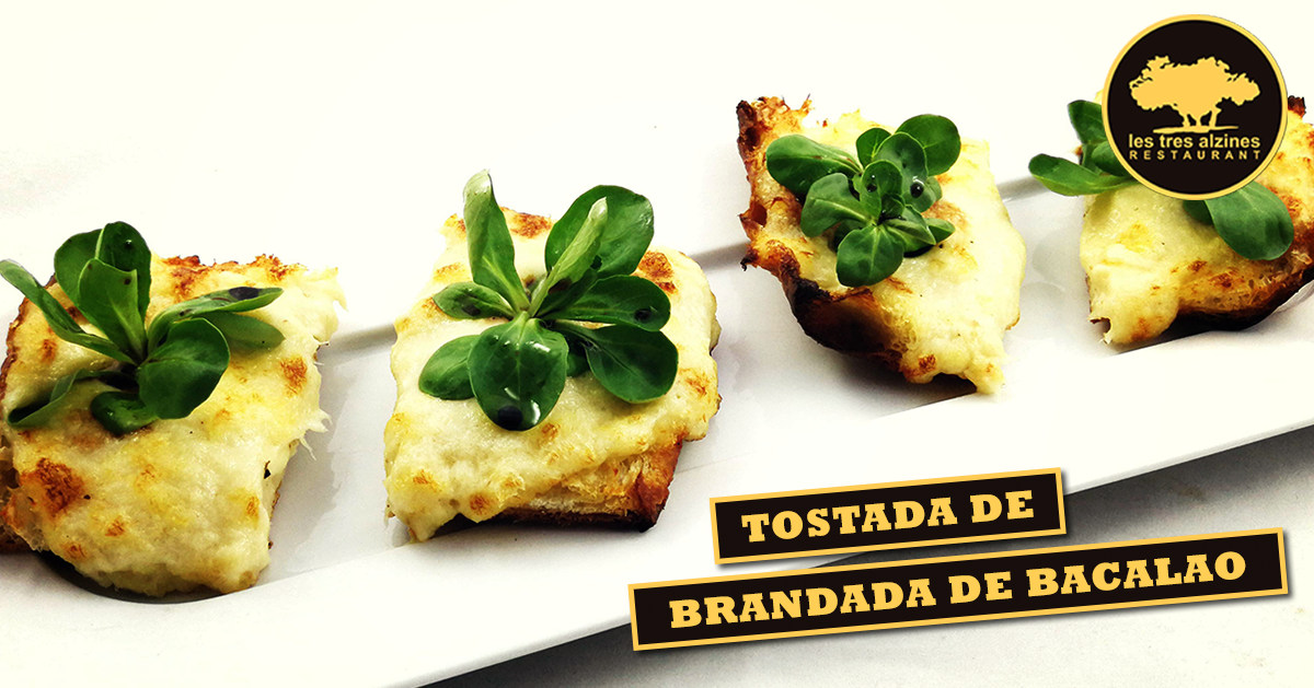Restaurante braseria en La Roca Village - Les Tres Alzines - Tostada de brandada de bacalao