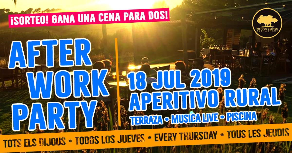 Restaurante braseria en La Roca Village - Les Tres Alzines - Afterwork temáticos de Les Tres Alzines: Aperitivo rural | 18 Julio 2019
