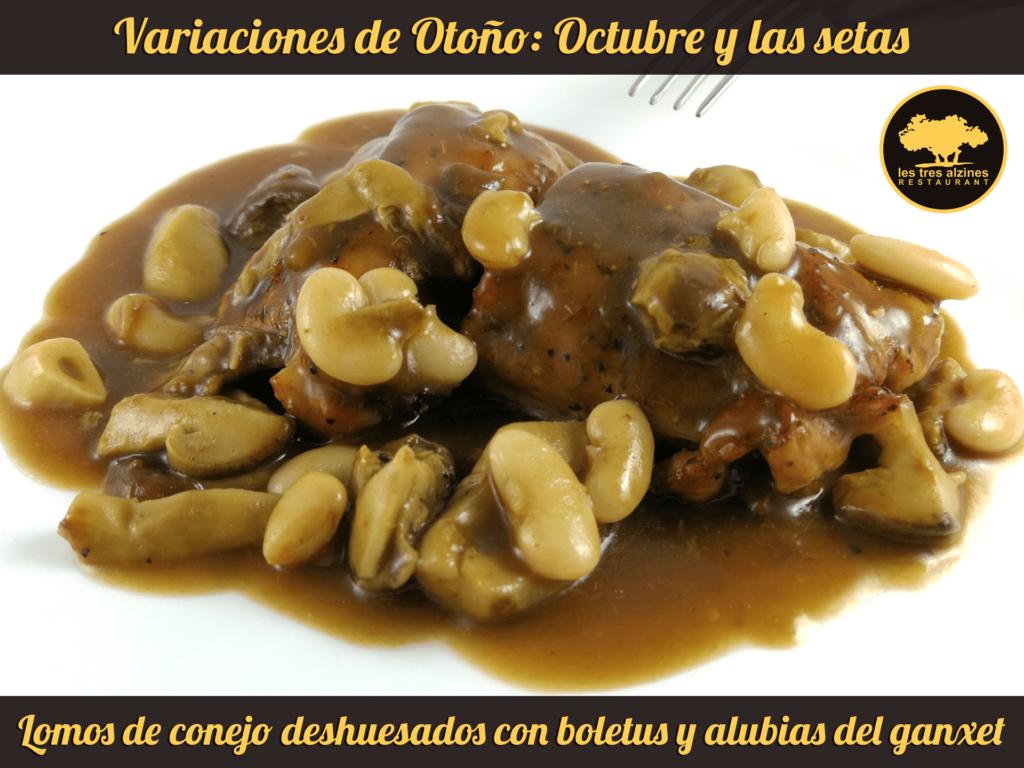 Restaurante braseria en La Roca Village - Les Tres Alzines - Cocina de temporada | Lomos de conejo deshuesados con boletus y alubias del ganxet