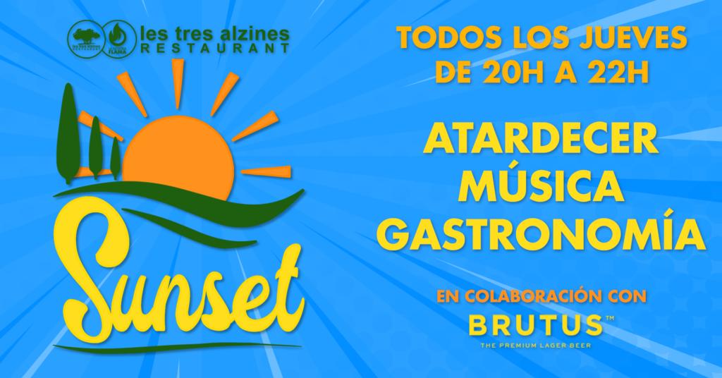 Restaurante braseria en La Roca Village - Les Tres Alzines - ¡Sunset en Les Tres Alzines! | Atardecer, música y gastronomía